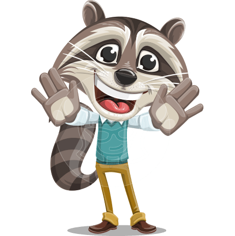 Raccoon Cartoon Vector Character AKA Mr. Coon