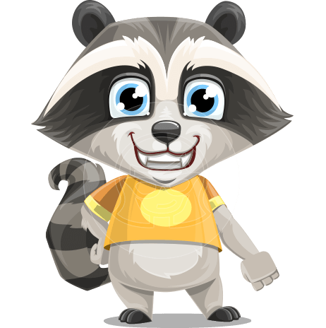 Baby Raccoon Cartoon Vector Character AKA Roony