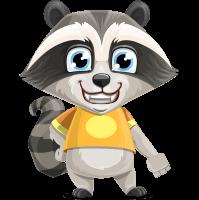 Baby Raccoon Cartoon Vector Character AKA Roony