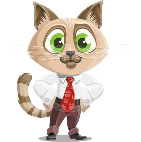 Business Cat Cartoon Vector Character AKA Tom Catson