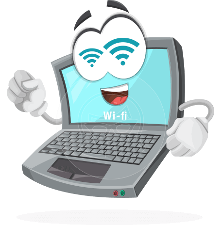 laptop computer vector character by GraphicMama