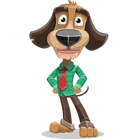 Business Dog Cartoon Vector Character AKA Donny