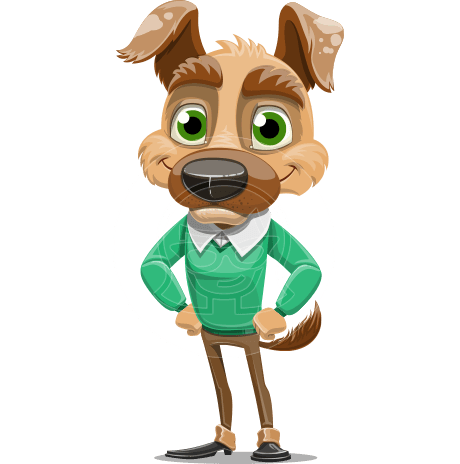 Dog With Clothes Cartoon Vector Character AKA Woofgang Dog