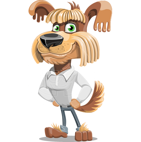 Fluffy Dog Cartoon Vector Character AKA Pinky Funk