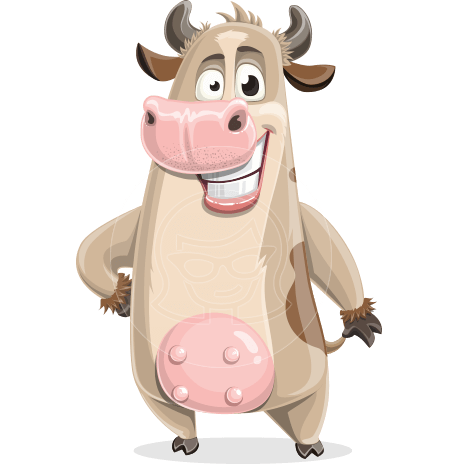 Cute Cow Cartoon Vector Character AKA Cody the Active Cow