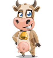 Young Cow Cartoon Vector Character AKA Colleen the Gentle Cow