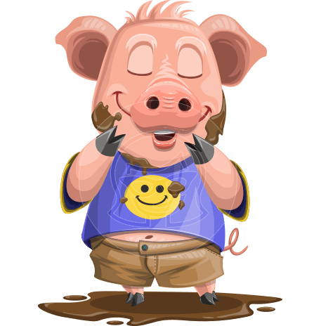 Pig with T-Shirt Cartoon Vector Character AKA Ricky