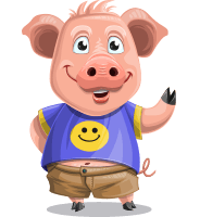 Pig with T-Shirt Cartoon Vector Character AKA Ricky the Happy Piggy