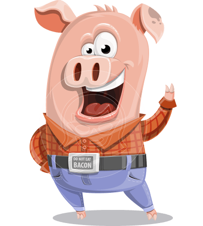 Farm Pig Cartoon Vector Character AKA Pigasso the Creative Pig