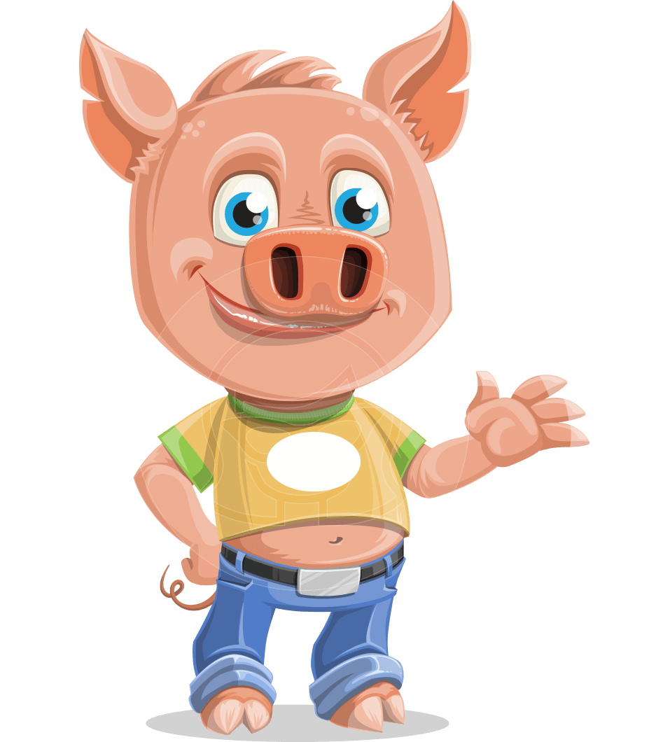 Cute Piglet Cartoon Vector Character AKA Paul the Little Piglet