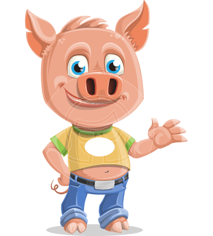 Cute Piglet Cartoon Vector Character AKA Paul the Little Piglet