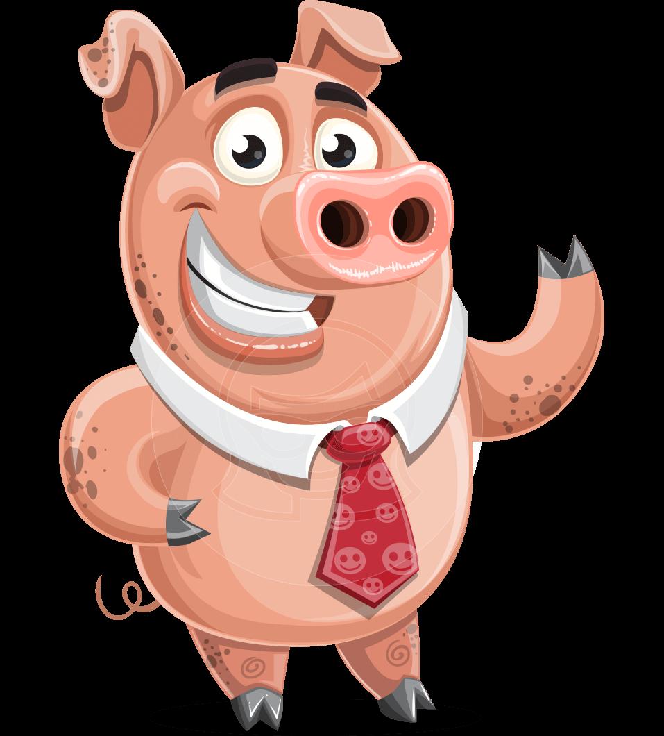 Pig with a Tie Cartoon Vector Character AKA Smokey Hans