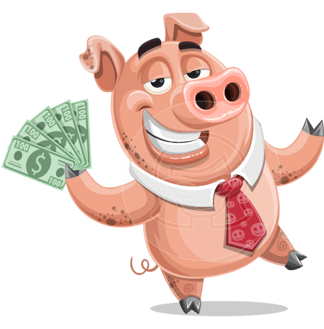 Pig with a Tie Cartoon Vector Character AKA Smokey Hans