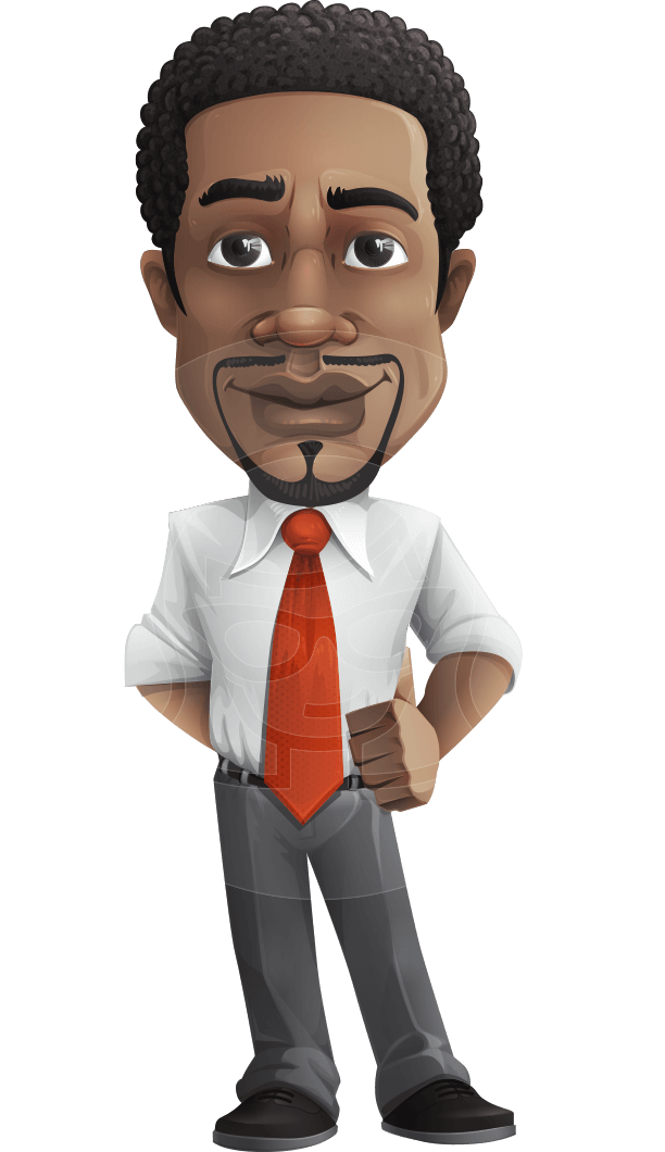 African American male character with a black hair - Vector Illustrations