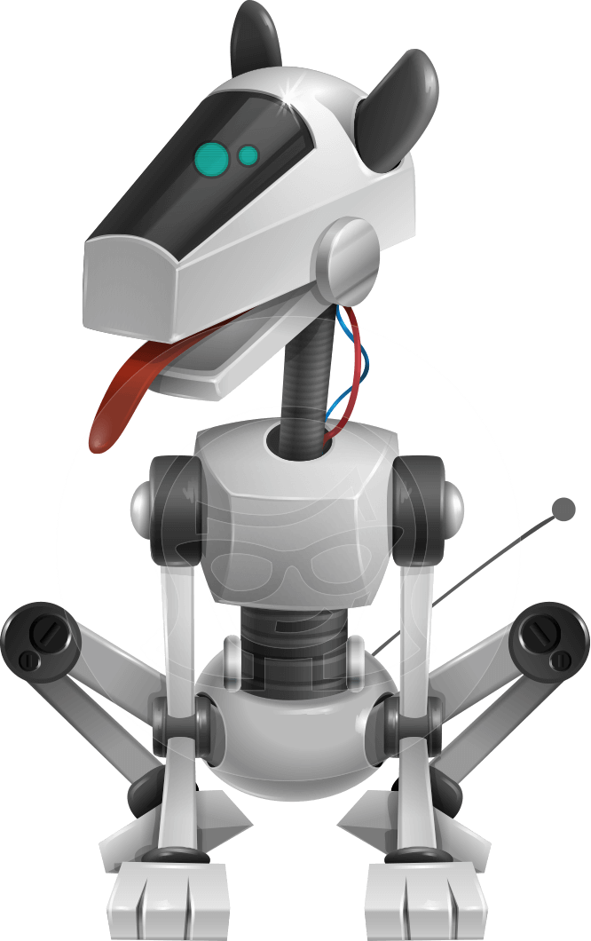 High-Tech Robot Dog Cartoon Vector Character AKA BARD