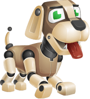 Futuristic Robot Dog Cartoon Vector Character AKA Barkey McRobot