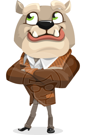 Bulldog Cartoon Vector Character AKA Baron Bulldog