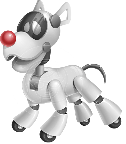 Artificial Intelligence Robot Dog Cartoon Vector Character AKA HERB