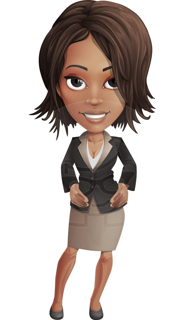 African American female with black coat vector character