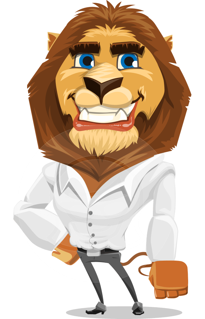 Business Lion Vector Cartoon Character AKA Lionello