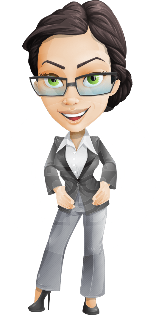 Vector Stylish Office Woman Cartoon Character