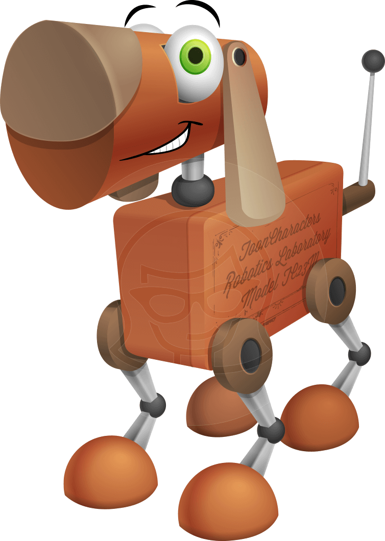 Old School Robot Dog Cartoon Vector Character AKA Robo Doug