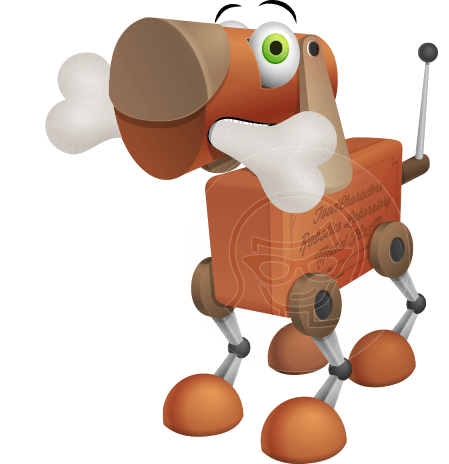 Old School Robot Dog Cartoon Vector Character AKA Robo Doug