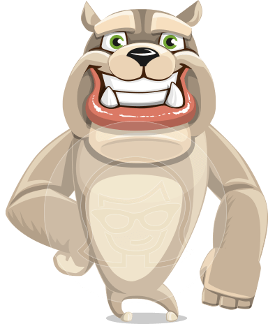Cute English Bulldog Cartoon Vector Character AKA Rocky the Bulldog