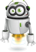 Flying Robot Cartoon Vector Character AKA Rory AeRobot