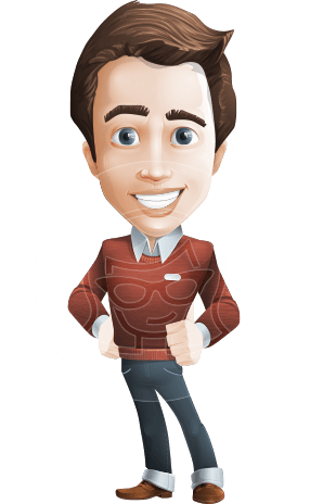 male vector cartoon character graphic design - Sam The Workaholic