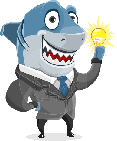 Shark Businessman Cartoon Vector Character AKA Sharky Razorsmile