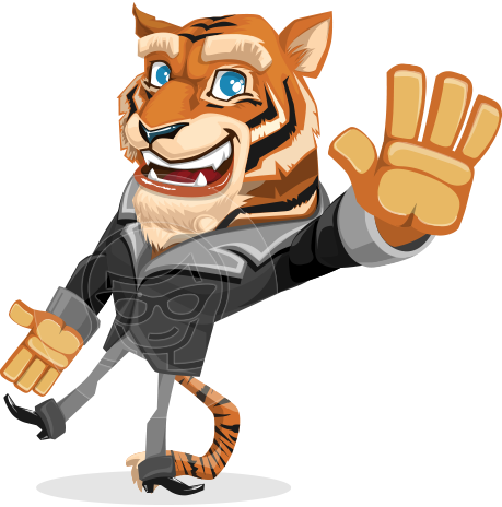 Tiger Businessman Vector Cartoon Character AKA Vice Tiger