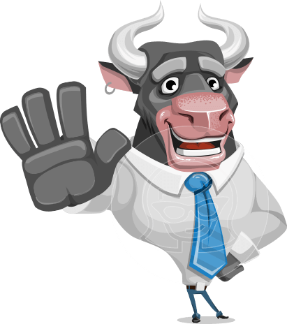 Bull Cartoon Character Dressed with Business Clothes AKA Will Horns