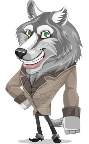 Wolf Businessman Cartoon Vector Character AKA Wolf Wilder