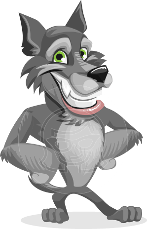 Wolf Cartoon Vector Character