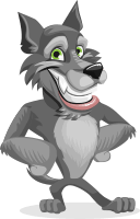 Wolf Cartoon Vector Character AKA Wolfie Paws