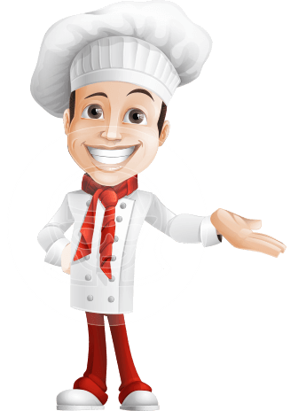 male chef vector cartoon character - Basilio the Chef Artist
