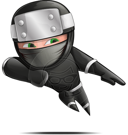 Funny Ninja Cartoon Vector Character AKA Hibiki the Flying Ninja