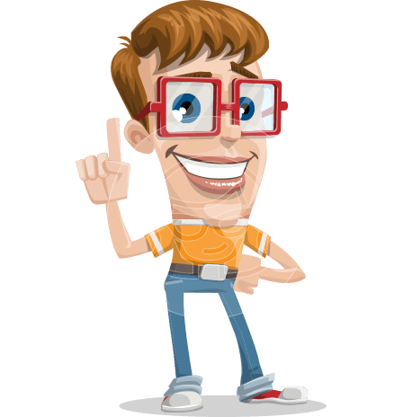 man vector cartoon character with square glasses