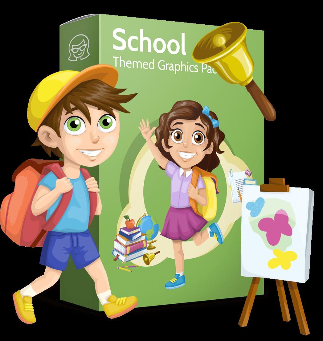 School vector graphics pack - editable schoolboy, schoolgirl, pupil, teacher characters, items, icons, illustrations, backgrounds, scenes