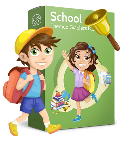 School vector graphics pack - editable schoolboy, schoolgirl, pupil, teacher characters, items, icons, illustrations, backgrounds, scenes