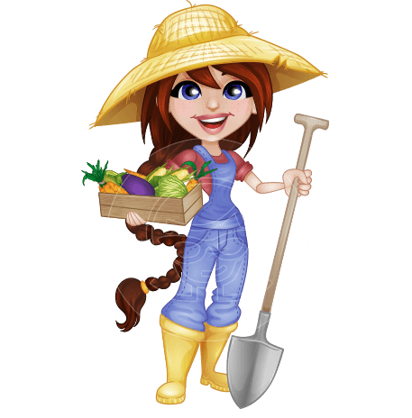 female farmer vector cartoon character