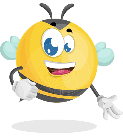 Simple Style Bee Cartoon Vector Character AKA Mr. Bubble Bee