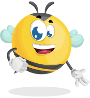 Simple Style Bee Cartoon Vector Character AKA Mr. Bubble Bee