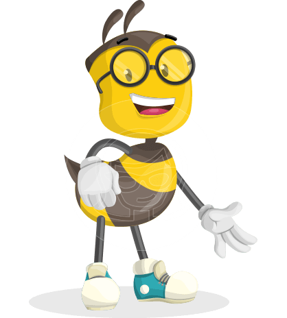 School Bee Cartoon Vector Character AKA Shelbee Sting