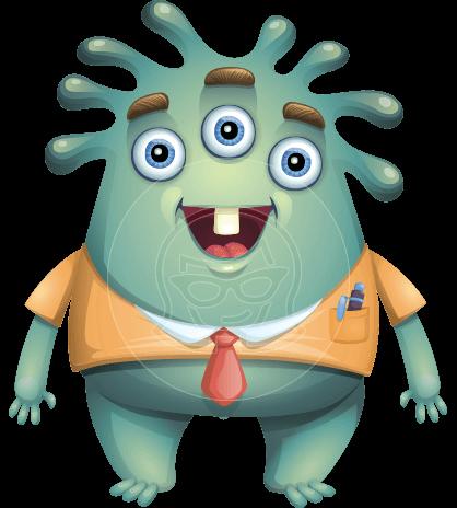 Sea Monster Vector Cartoon Character AKA Paul as Mr. See-it-all
