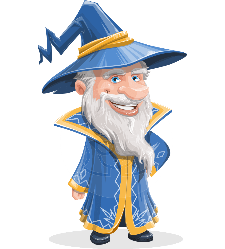 Wizard with a Hat Cartoon Vector Character AKA Waldo the Wise Wizard