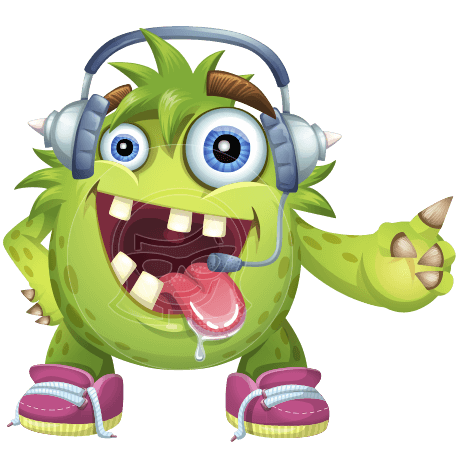 Funny Monster Cartoon Vector Character AKA Hal the Messy Pal