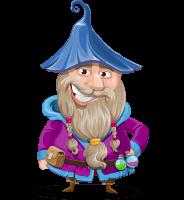 Wizard with Beard Cartoon Vector Character AKA Osborne the Magic Virtuoso