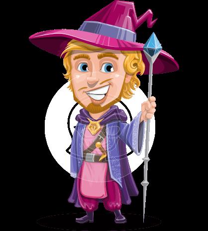 Sorcerer Cartoon Vector Character AKA Magnus the Great Enchanter